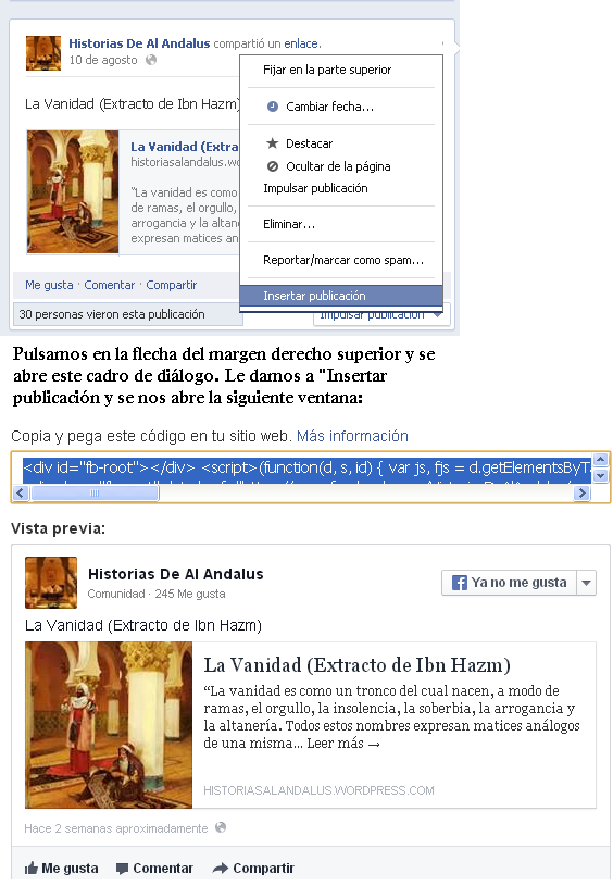 Como incrustar un post Facebook en tu blog