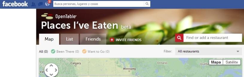 Aplicación Open Table en Facebook-Redes Sociales