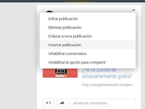 Embeber google+ a tu blog