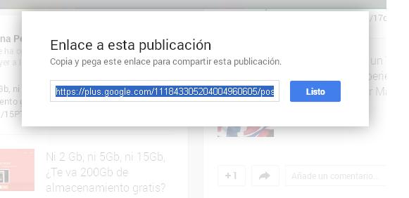 Copiar y pegar Url Google+