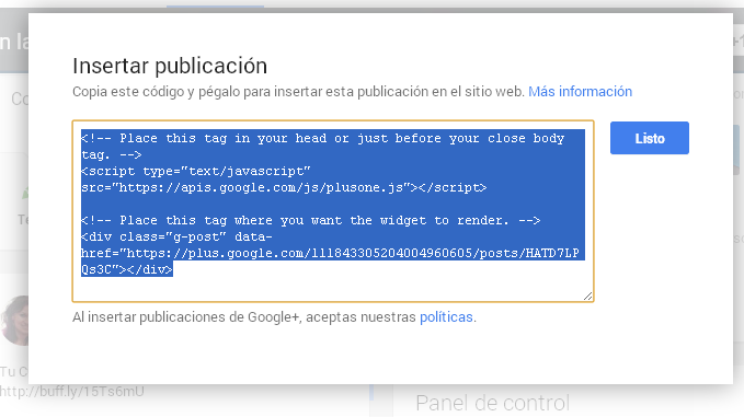 Insertar codigo Google para widget