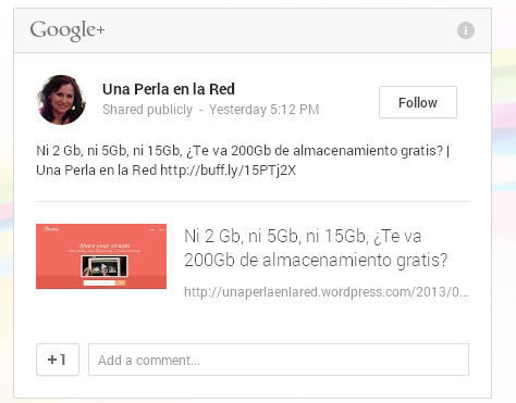 Post de Google incrustado en nuestra web