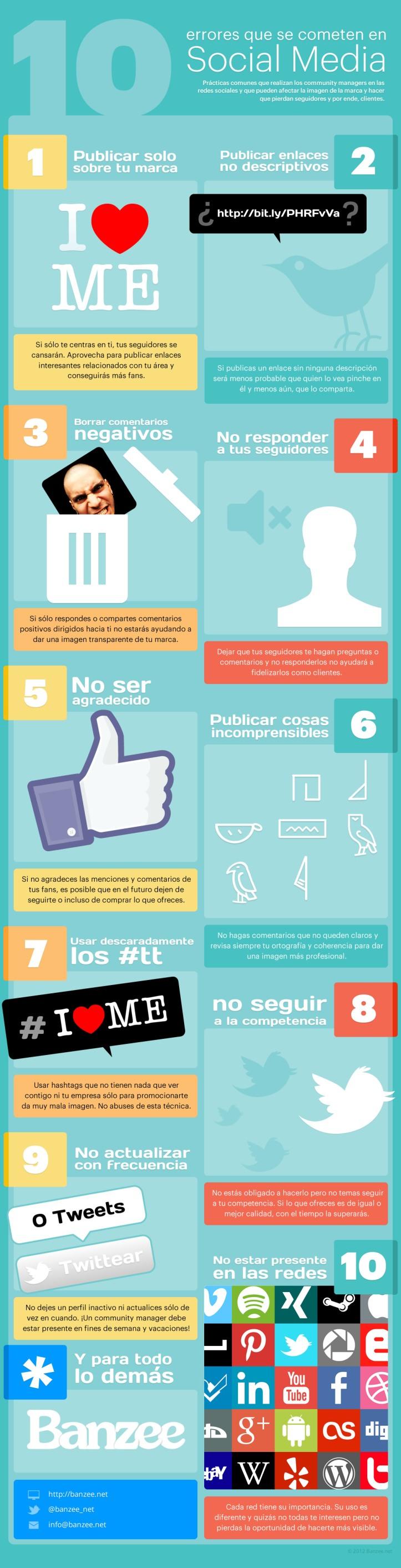 10 errores que se cometen en Social Media - Infografía