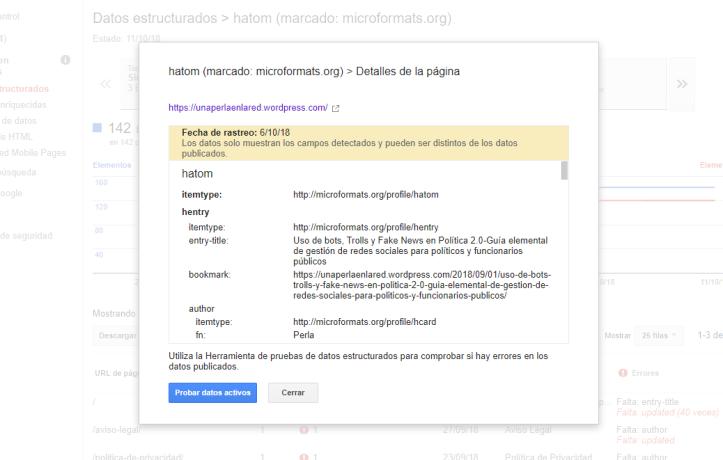 detalles errores datos estructurados-probar datos activos