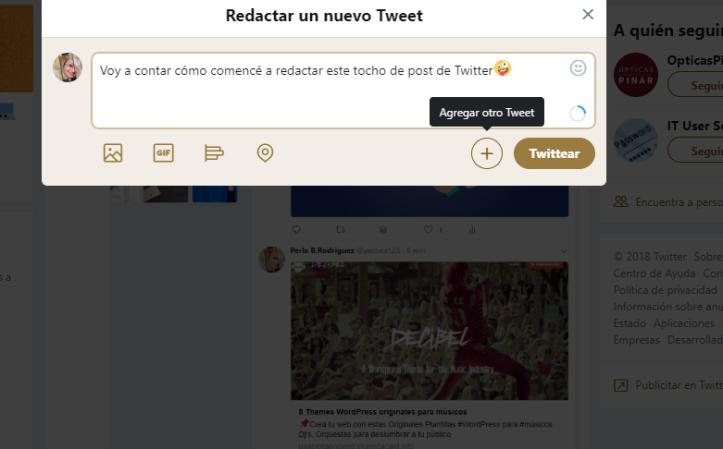crear un hilo en Twitter