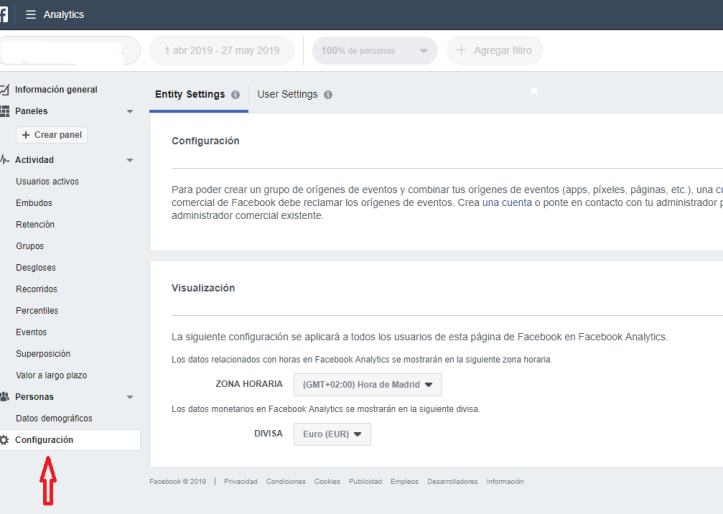 configuración informe analytics Business Manager-Facebook
