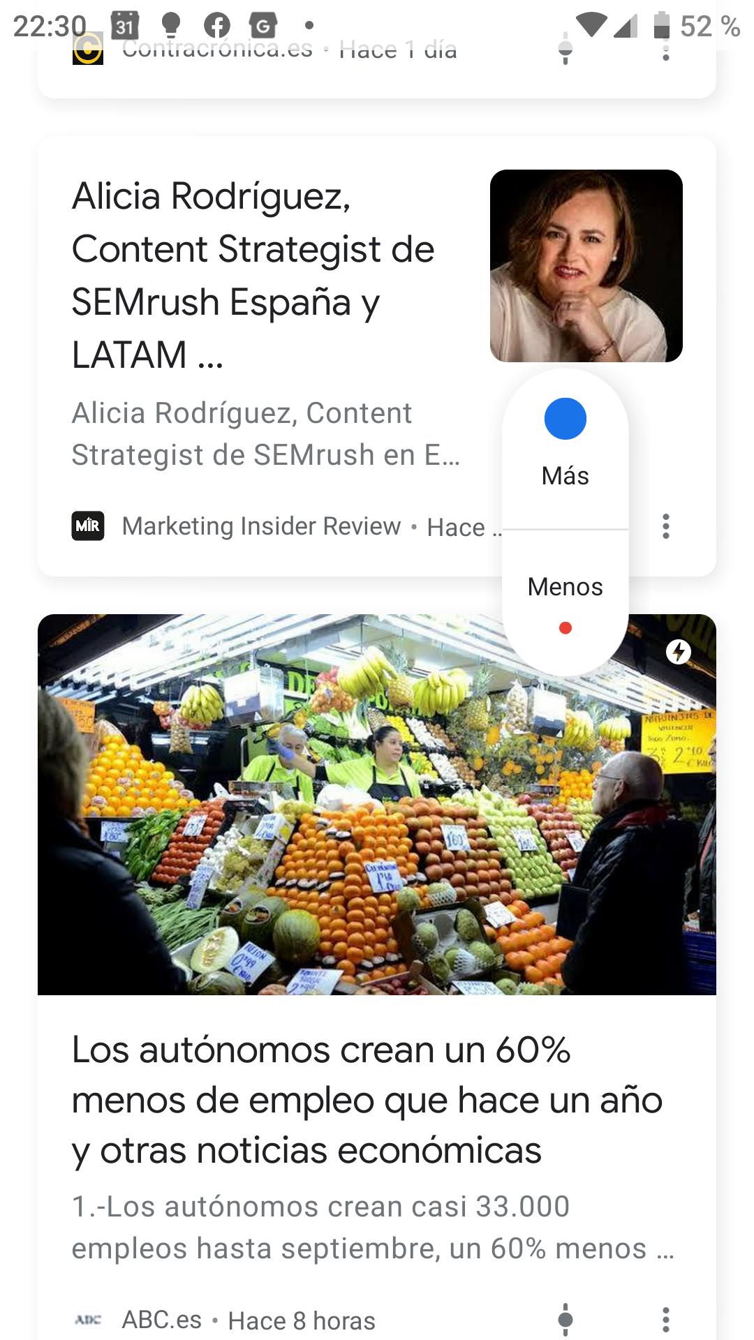 tarjeta google discover y sus funcionalidades
