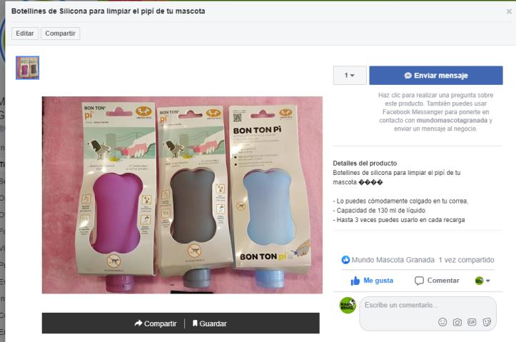 ficha producto tienda online de Facebook