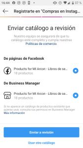 Asociar catalogo de productos a Instagram