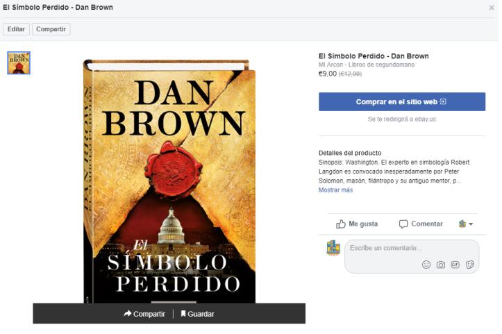 ficha de producto de tienda de Facebook