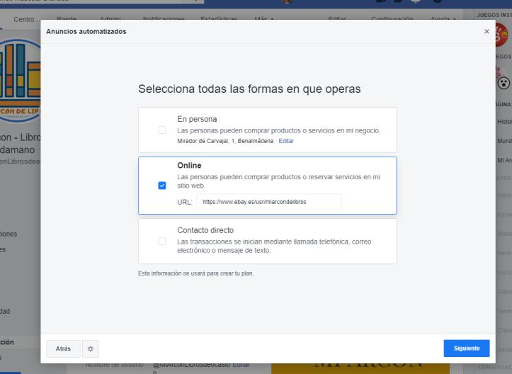 opciones de anuncios automatizados en Facebook
